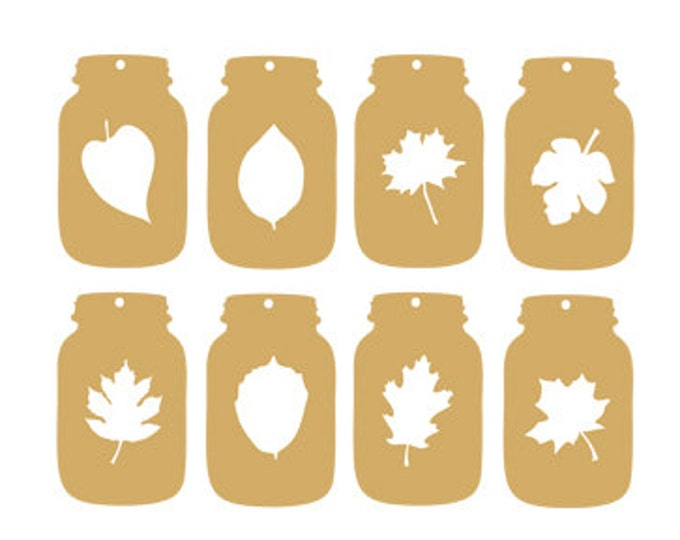 mason jar leaves tags gift tags svg dxf jpeg png file stencil monogram frame silhouette cameo cricut downloads clip art commercial use