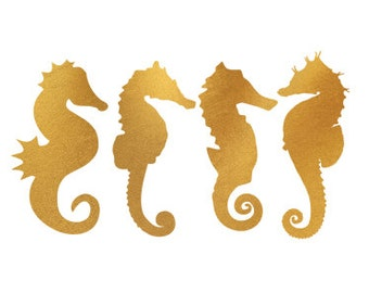 seahorses gold foil clip art svg dxf file instant download silhouette cameo cricut digital scrapbooking