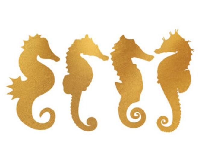 seahorses gold foil clip art svg dxf file instant download silhouette cameo cricut digital scrapbooking