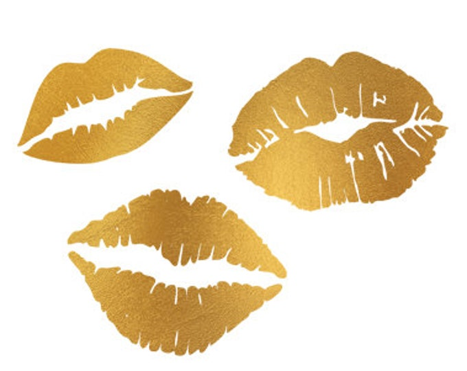 lips gold foil clip art svg dxf file instant download silhouette cameo cricut digital scrapbooking commercial use