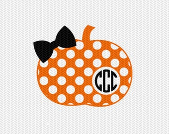 pumpkin polka dot pattern monogram frame svg dxf file instant download stencil silhouette cameo cricut clip art commercial use