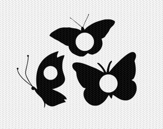 butterfly monogram frame svg dxf file instant download silhouette cameo cricut downloads clip art commercial use