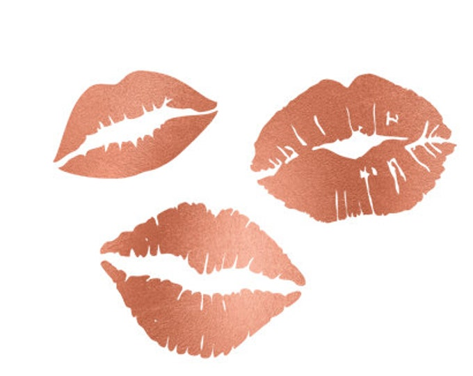 lips rose gold foil clip art svg dxf file instant download silhouette cameo cricut digital scrapbooking commercial use