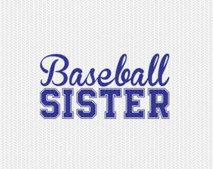 baseball sister svg dxf file instant download silhouette cameo cricut downloads clip art