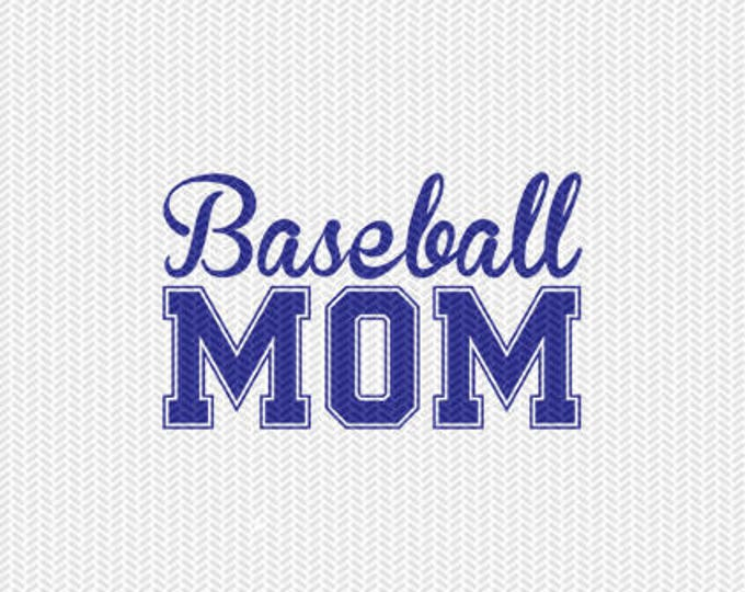 baseball mom svg dxf file instant download silhouette cameo cricut clip art commercial use