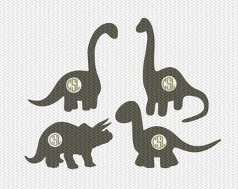 dinosaurs monogram frames svg dxf file instant download silhouette cameo cricut downloads clip art