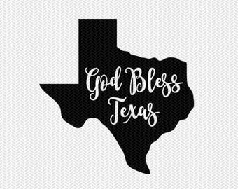 god bless texas svg dxf jpeg png file stencil monogram frame silhouette cameo cricut clip art commercial use
