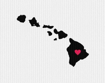 hawaii heart svg dxf file stencil silhouette cameo cricut clip art commercial use