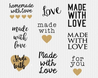 made with love svg dxf jpeg png file stencil monogram frame silhouette cameo cricut clip art commercial use