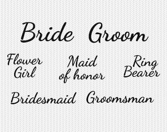 wedding party set svg dxf jpeg png file stencil monogram frame silhouette cameo cricut clip art commercial use