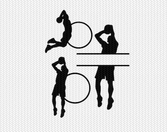 basketball monogram frames svg dxf file instant download silhouette cameo cricut clip art