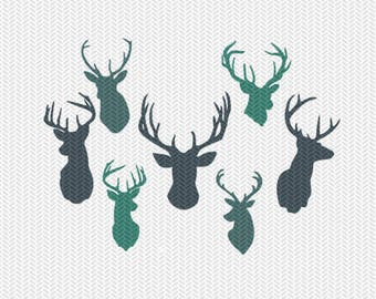 deer heads svg dxf file instant download silhouette cameo cricut clip art commercial use
