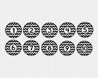 chevron circle numbers 1-10 svg dxf file stencil silhouette cameo cricut clip art commercial use
