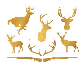 deer hunt gold foil clip art svg dxf file instant download silhouette cameo cricut digital scrapbooking
