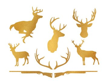 deer hunt gold foil clip art svg dxf file instant download silhouette cameo cricut download digital scrapbooking