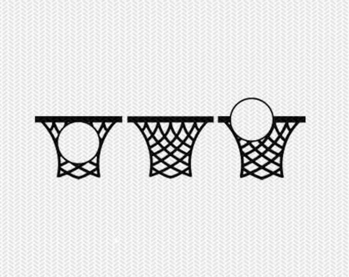 basketball net monogram frames svg dxf file instant download silhouette cameo cricut clip art