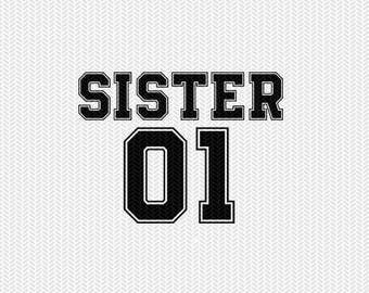 sister 01 sports dxf file instant download silhouette cameo cricut clip art commercial use