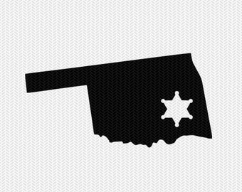 oklahoma sheriff svg dxf file stencil instant download silhouette cameo cricut downloads clip art sheriff state svg dxf file