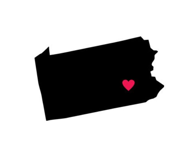 pennsylvania heart svg dxf jpeg png file stencil monogram frame silhouette cameo cricut clip art commercial use