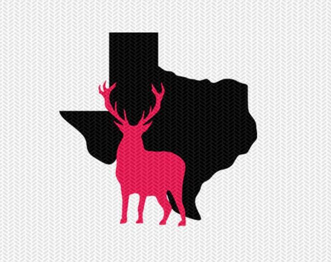 texas deer svg dxf file stencil monogram frame silhouette cameo cricut clip art commercial use