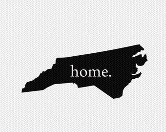north carolina home svg dxf file stencil instant download silhouette cameo cricut downloads clip art home state svg dxf file