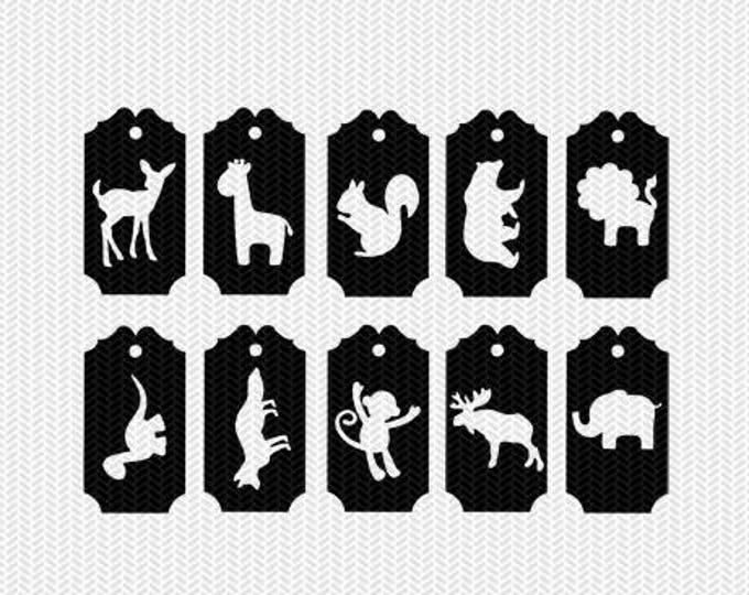 animals tags labels svg dxf jpeg png file stencil monogram frame silhouette cameo cricut clip art commercial use