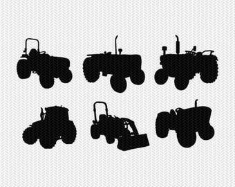 tractors svg dxf file stencil frame silhouette cameo cricut clip art commercial use