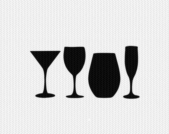 wine glasses svg dxf file stencil frame silhouette cameo cricut clip art commercial use