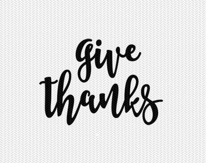give thanks svg dxf file instant download silhouette cameo cricut downloads clip art commercial use