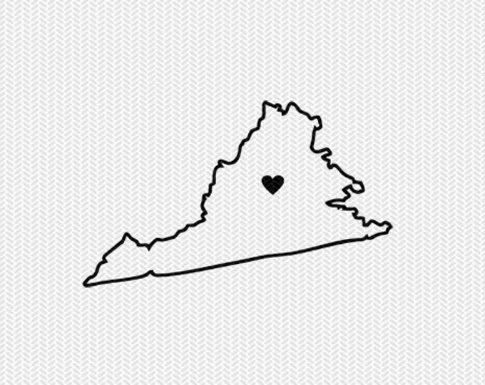 virginia outline heart svg dxf file stencil silhouette cameo cricut clip art commercial use