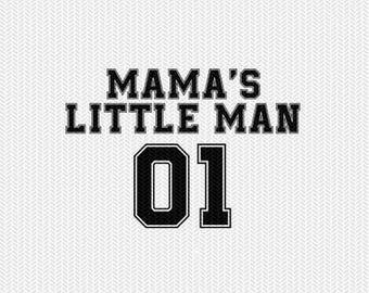 mama's little man 01 sports  dxf file instant download silhouette cameo cricut clip art commercial use