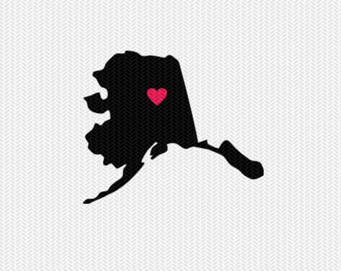 alaska heart  svg dxf file stencil silhouette cameo cricut clip art commercial use