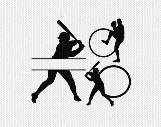 baseball bats monogram frames svg dxf file instant download silhouette cameo cricut clip art commercial use