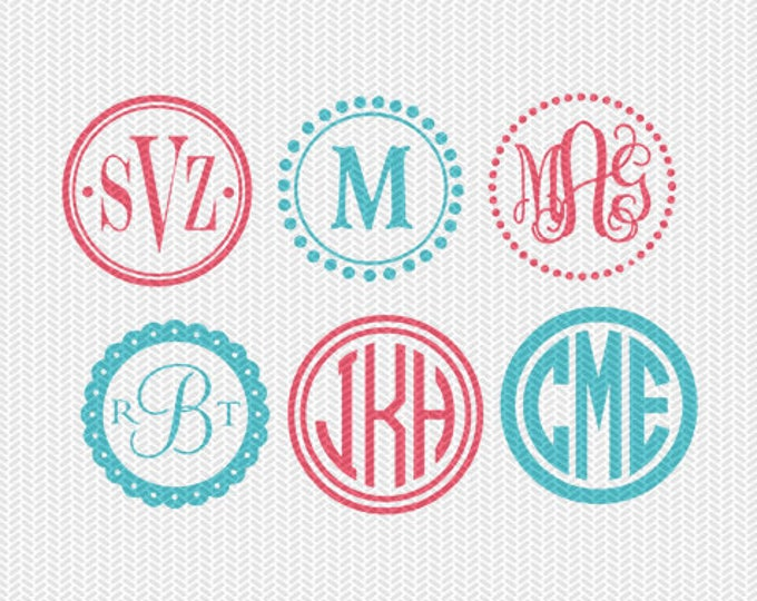 circle monogram frame svg dxf file instant download silhouette cameo cricut downloads clip art commercial use