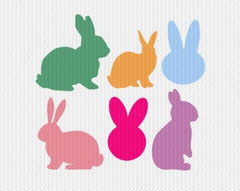 bunnies easter set svg dxf file instant download silhouette cameo cricut clip art commercial use