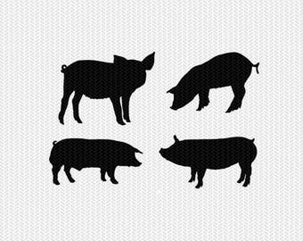 pigs svg dxf file stencil frame silhouette cameo cricut clip art commercial use