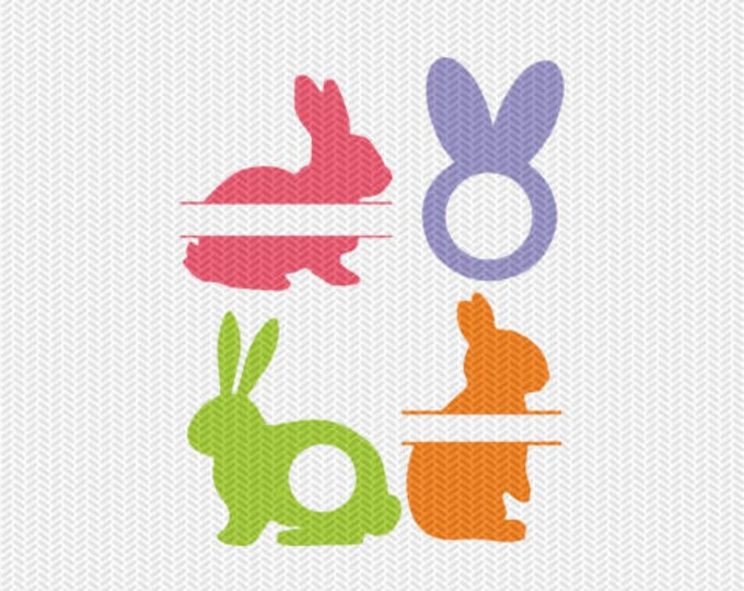 easter bunny monogram frames silhouette svg dxf file instant download silhouette cameo cricut clip art commercial use