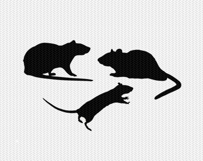 rats svg dxf file instant download stencil silhouette cameo cricut clip art commercial use