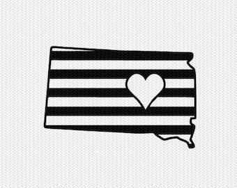 south dakota stripes heart svg dxf file download stencil silhouette cameo cricut downloads cut file downloads clip art commercial use