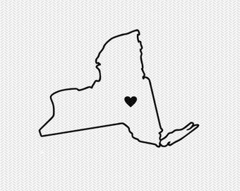 new york outline heart svg dxf file stencil silhouette cameo cricut clip art commercial use