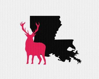 louisiana deer svg dxf jpeg png file stencil monogram frame silhouette cameo cricut clip art commercial use