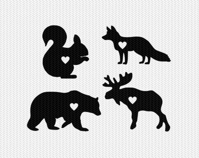 woodland animals heart svg dxf jpeg png file stencil monogram frame silhouette cameo cricut clip art commercial use