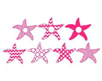 starfish pattern monogram frame svg dxf file instant download stencil silhouette cameo cricut downloads clip art commercial use