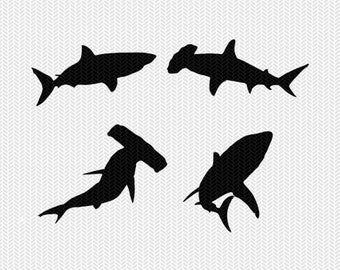 sharks svg dxf jpeg png file instant download stencil silhouette cameo cricut downloads clip art commercial use