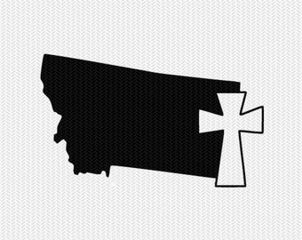montana cross svg dxf file stencil state cut file silhouette cameo cricut download clip art commercial use