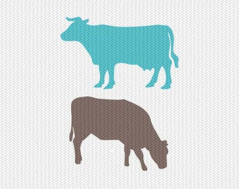 cows silhouette svg dxf file instant download silhouette cameo cricut clip art commercial use