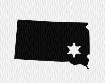 south dakota sheriff svg dxf file stencil instant download silhouette cameo cricut downloads clip art sheriff state svg dxf file