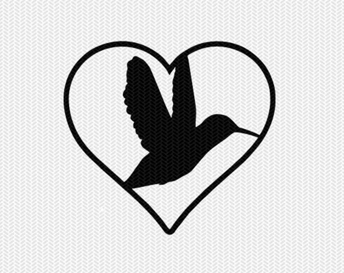 humming bird heart svg dxf png file instant download stencil silhouette cameo cricut downloads cut file clip art commercial use