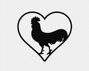 chicken rooster heart svg dxf png file instant download stencil silhouette cameo cricut downloads cut file clip art commercial use