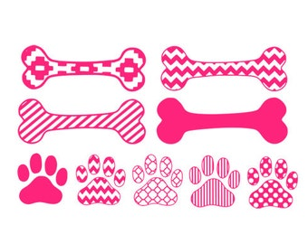 paws and bones pattern svg dxf file instant download stencil silhouette cameo cricut downloads clip art commercial use